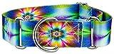 Country Brook Design 1 1/2 Inch Tie Dye Flowers Martingale Dog Collar - Medium