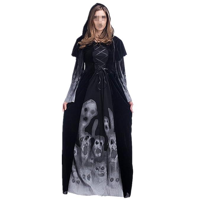 Prettycos Disfraz de Bruja Mujer Cosplay Vampiresa Novia Cadaver Halloween