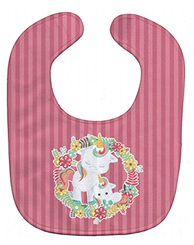 Caroline's Treasures Unicorn and Flowers Baby Bib, Pink, Large