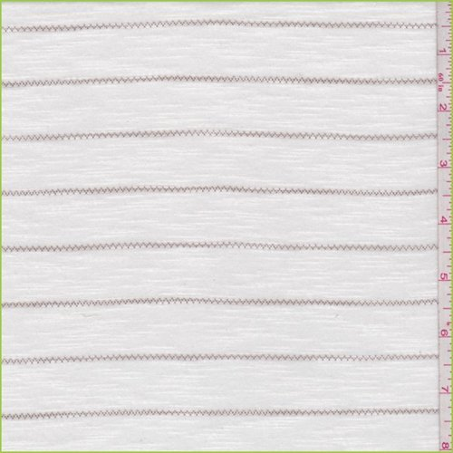 (White/Taupe Zig Zag Stripe T-Shirt Knit, Fabric by The Yard )