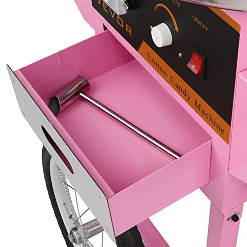 FoodKing Cotton Candy Machine Candy Floss Maker Electric Floss Maker Cart Kit Commercial Use 1030W for Wedding Party (Cotton Candy Machine with Cart) by FoodKing (Image #6)
