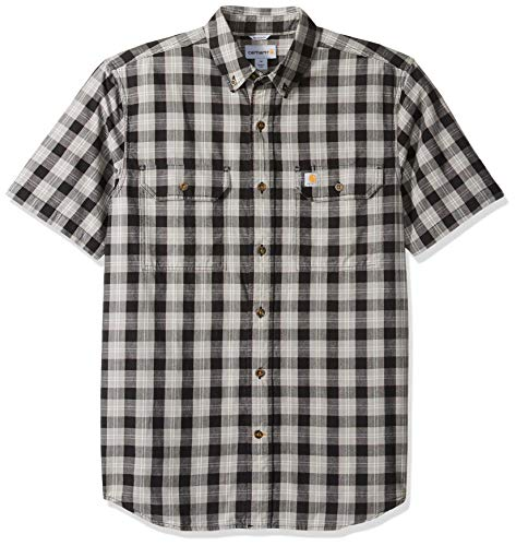 (Carhartt Men's Fort Plaid Short Sleeve Shirt, Black, X-Large)