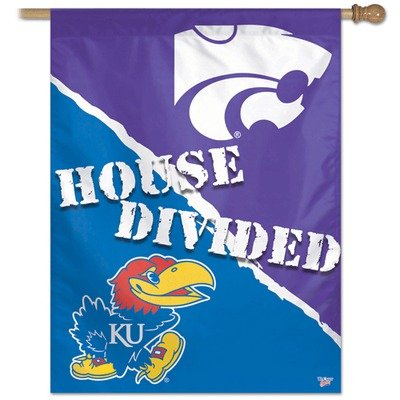 NCAA Kansas Vs Kansas State 27-by-37-Inch Vertical Flag-House Divided