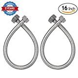 "HOMEIDEAS 16-Inch Faucet Connector Braided Stainless Steel Supply Hose 3/8"" Compression Female Thread x 1/2"" I.P.Female Straight Thread Faucet Hose Replacement Pack of 2(1 Pair)"
