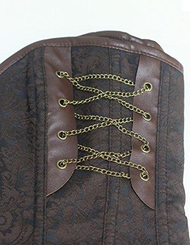 Burvogue Mujer Steampunk Corsé Top hueso de acero Overbust corpiño Brown+jacket