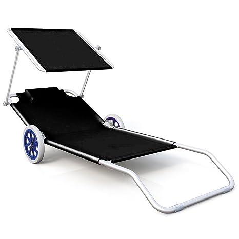 sailun® tumbonas de playa con techo y ruedas, – Silla plegable Respaldo reclinable Tumbona