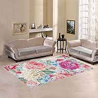 your-fantasia Watercolor Peonies Birds Wild Flowers Area Rug Modern Carpet Home Decor