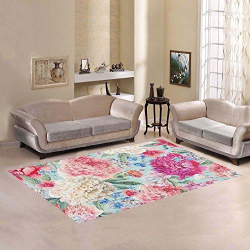 your-fantasia Watercolor Peonies Birds Wild Flowers Area Rug Modern Carpet Home Decor (Rug Wildflowers)