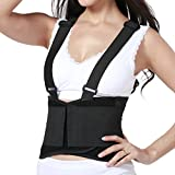 Lumbar Support Belt with Suspenders for Women - Adjustable & Light - Back Brace Shoulder Holsters - Lower Back Pain, Work, Lifting, Exercise, Gym - Neotech Care Brand - Black - Size XL