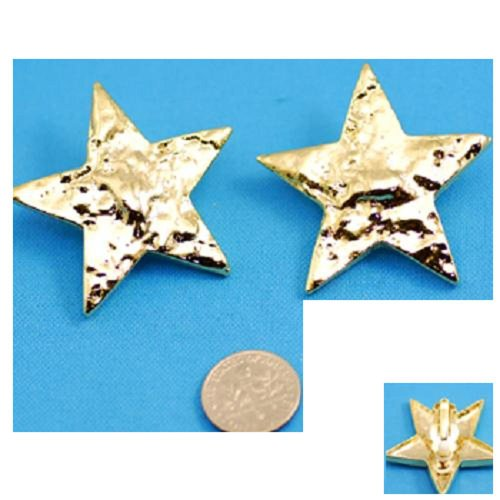 Earrings ~ Hammered Star ~ Silver Tone ~ Clip-On
