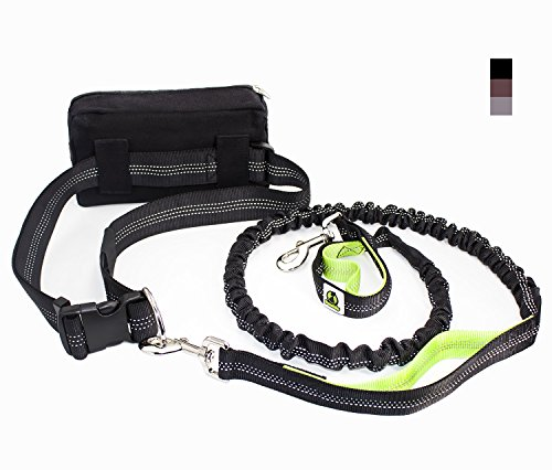 Hands Free Dog Leash Includes Bag Dispenser and Training Ebooks - Premium Quality Lifetime Guarantee - Waist Dog Leash for Running Hiking Jogging Waking - Ideal for Medium to Large Dogs (Black)