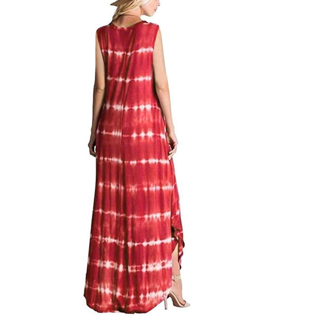 3a870bcc30 Womens Dresses Loose Sleeveless V Neck Striped Pockets with Both Side Split Casual  Long Dress at Amazon Women's Clothing store: