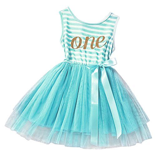 Baby Girls Crown Princess Striped 1st/2nd Birthday Cake Smash Shiny Printed Party Tulle Tutu Dress Toddler Kids Outfit Turquoise (One Year) One Size