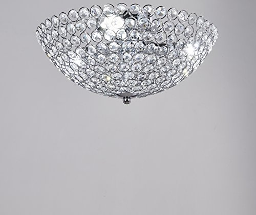 New Legend 3-light Bowl-shaped Chrome Finish Metal and Crystal Shade Crystal Chandelier Flush Mount Ceiling Light
