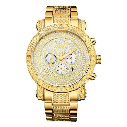 18k Diamond Wrist Watch - JBW Men's JB-8102-A Victor 18K Gold-plated Stainless Steel Multi-function Diamond Watch with Sub Dial