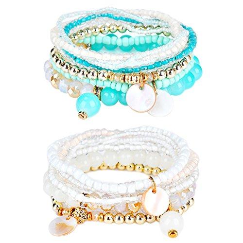 RareLove Bohemian Beaded Bracelet Brown Stretch Strand Wrap with Charm Layered Three Tassels (Set 2)