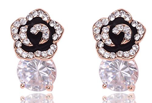 MISASHA Celebrity Designer Rhinestone Black Camellia Flower Studs Earrings