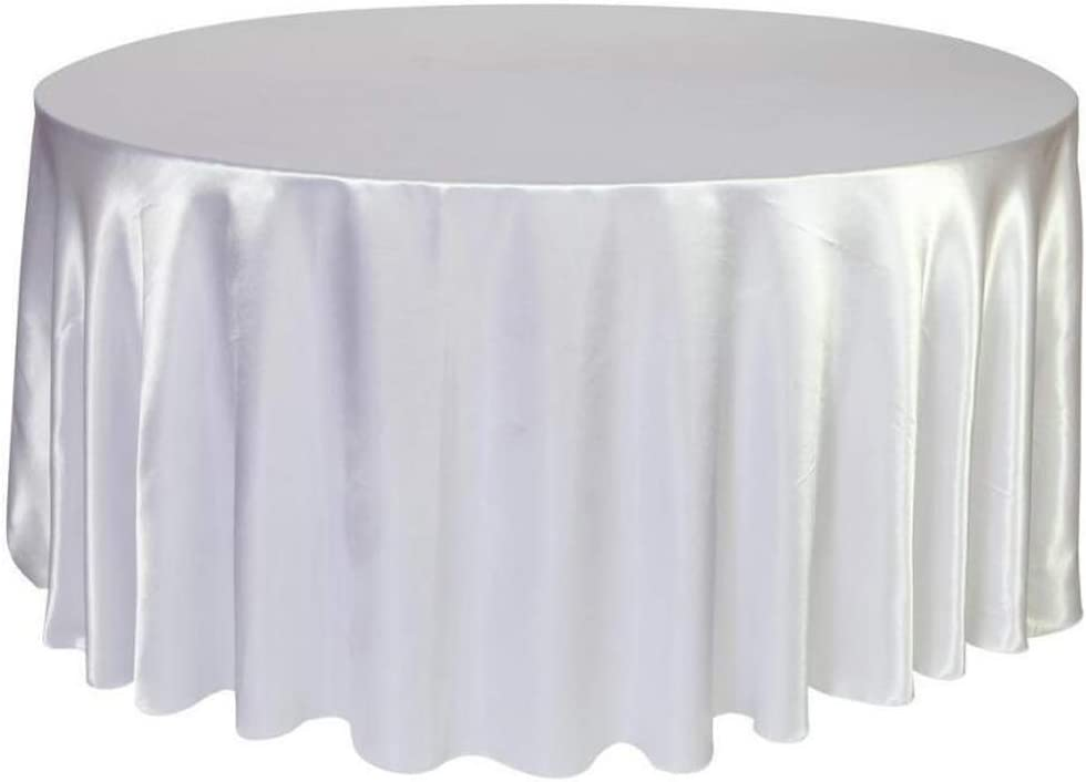 BIT.FLY Round Tablecloth 120 inch - Satin Silk Fabric Table Cover for Wedding Dinner Party Circular Oval Table, White Table Cloth