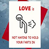 Love Is Not Having to Hold Your Farts in - Anniversary Card, Birthday Card