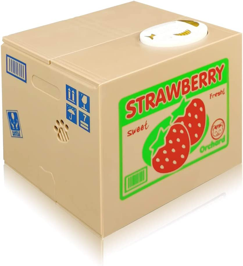 Strawberry TUSEASY Stealing Coin Bank Automatic Piggy Banks Money Saving Box Great Gift for Kids Children Monkey Cat
