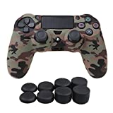 YoRHa Water Transfer Printing Camouflage Silicone Cover Skin Case for Sony PS4/slim/Pro controller x 1(desert) With Pro thumb grips x 8 from YoRHa