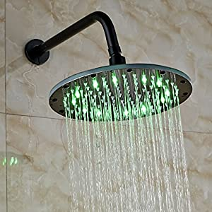 Rozin LED Changing Color 10-inch Round Top Shower Head with Wall Mounted Shower Arm Oil Rubbed Bronze