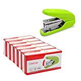 Case of 8 Cartons, 72 Per Carton, Tihoo One-Touch Flat Stack Full Strip Stapler,Power Save ,25 sheets Capacity