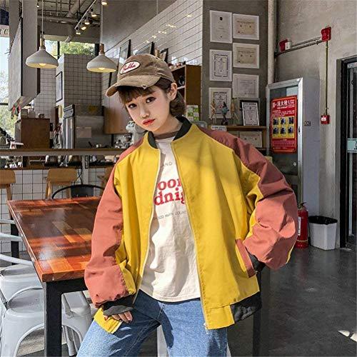 Manica Colori Relaxed Lunga Bomber Cappotto Zip Gelb Casual College Misti Giacca Giacche Ragazze Donna Pilot Ragazza Autunno Fashion BqxwAnEI