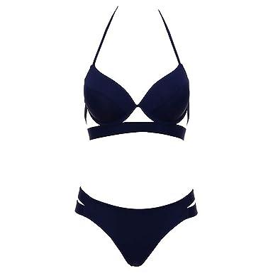 20d19a5a473 Amazon.com: Women Bandage Swimsuit Bikini 2019 Sexy Push Up Swimwear Low  Waist Halter Bikinis,deep Blue,M: Clothing