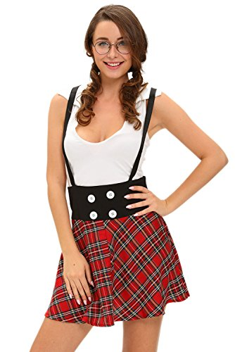 [Cfanny Schoolgirl Role Play Plaid Skirt Dress Halloween Costume,Red,Large] (2016 Womens Halloween Costumes Diy)