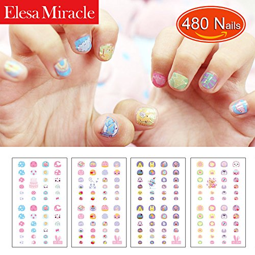 Elesa Miracle Kids Nail Stickers for Little Girl Nirl Art Decals Party Favor Pretend Play Princess Jewelry 480 Nails by Elesa Miracle