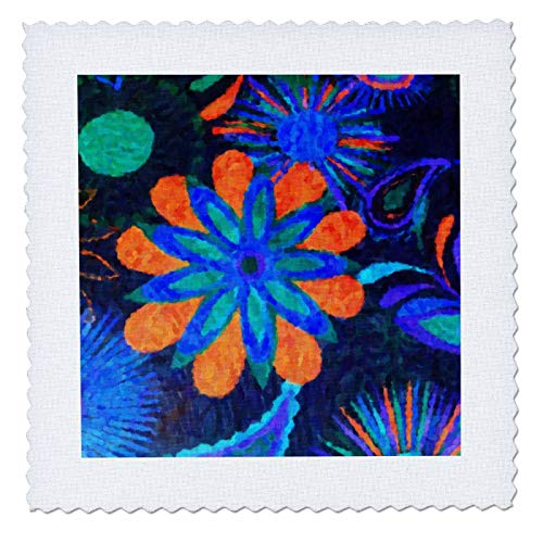 Square Floral Fusion (3dRose Florene Abstract Floral - Flower Fusion - 10x10 inch quilt square (qs_25225_1))
