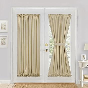 Sliding Glass Door Curtain Panel   PONY DANCE Room Darkening Rod PocketDoor  Panel For French Door
