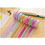 CraftDev Colourful Decorative Adhesive Glitter Tape Rolls, Length 3m Each, Set of 10 (Colors As Per Availability)
