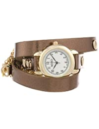 XOXO Women's XO5625 Metallic Brown Band with Chains Accent Double Wrap Watch