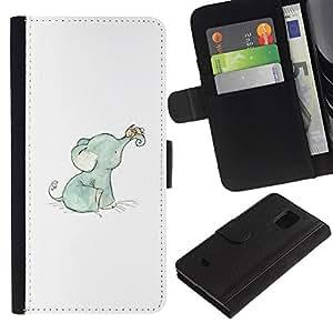 KingStore / Leather Etui en cuir / Samsung Galaxy S5 Mini, SM-G800 / Bebé elefante azul Dulce Blanco Azul;