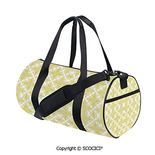 (Unisex Cylinder Sports Bag,Damask Inspired Victorian Retro Revival Motifs Rococo Swirls ClassicEasy to Carry,(17.6 x 9 x 9 in) Pale Green White)