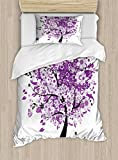 Ambesonne Nature Duvet Cover Set Twin Size, Spring Tree of Life Sacred Woods with Blooming Flower and Butterfly Flying Romance, Decorative 2 Piece Bedding Set with 1 Pillow Sham, Lilac Purple