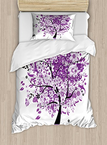 Ambesonne Nature Duvet Cover Set, Spring Tree of Life Woods with Blooming Flower and Butterfly Flying Romance, Decorative 2 Piece Bedding Set with 1 Pillow Sham, Twin Size, Purple Lilac ()