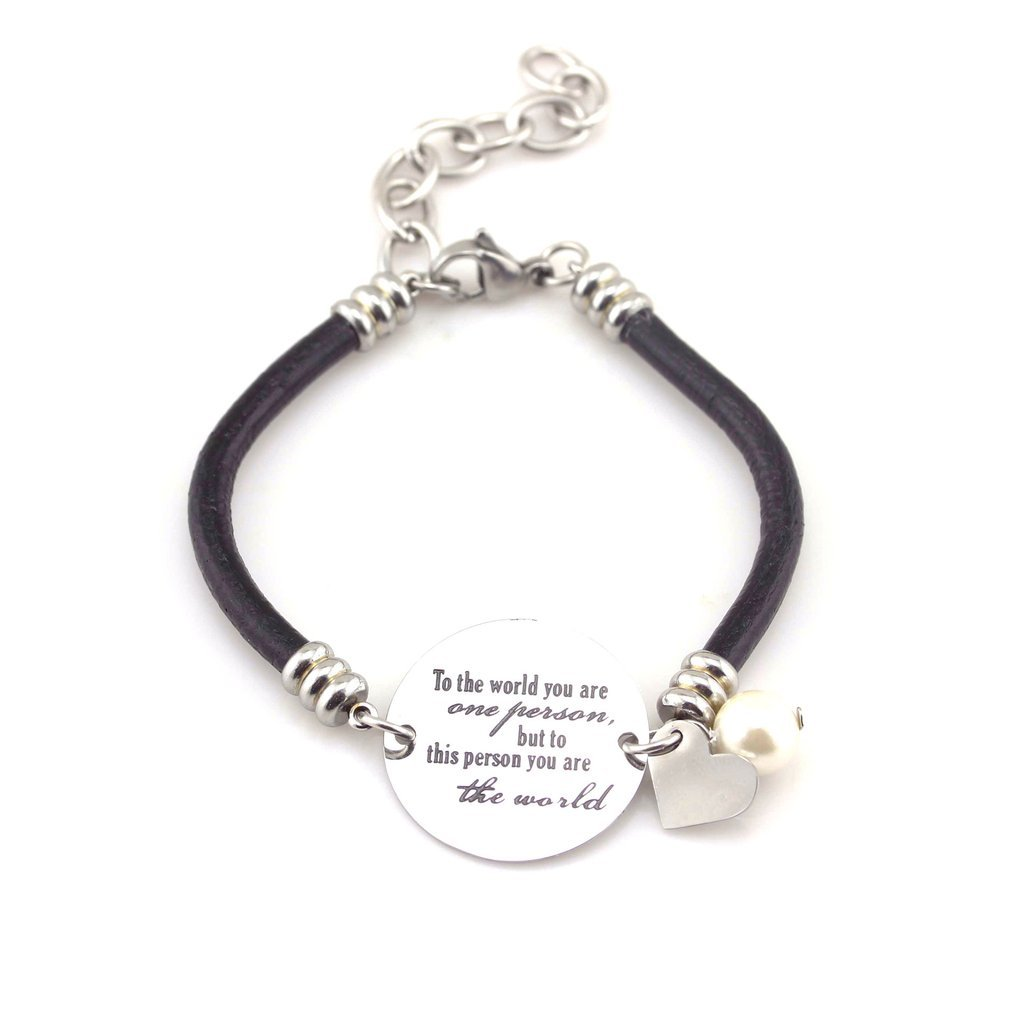 Mother Daughter Bracelet, Leather Bracelet with Stainless Steel Charm To the World... by Balla B01CKBA24U_US