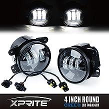 Xprite 4 Inch 60W Cree LED Fog Lights for Jeep Wrangler JK TJ LJ Tractor Boat Led Fog Lamps Bulb Auto Led Headlight Driving Offroad Lamp