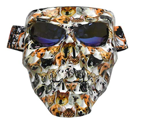 (JFFCESTORE Motorbike Motorcycle Off-Road Riding Skull Full Mask with Goggles Glasses for Tactical Helmet M88,MICH Motorcycle Open Face Helmet(Jungle Color) )