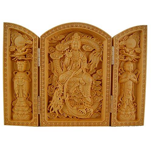 - QHYT Buddha Statue Carving Locker Box, Avalokitesvara Sculpture Decoration Made of Boxwood, Golden