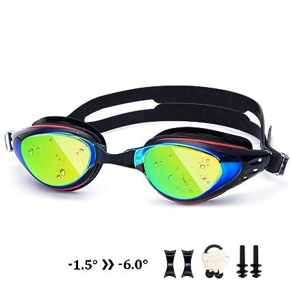4eb27d3a8401 UTOBEST Nearsighted Mirrored Swim Goggles Anti Fog Myopic Optical Swimming  Goggles 100% UV Protection Triathlon Swim Glasses for Adult Men Women Junior