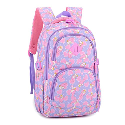 kaoling Bolsos escolares de la historieta de los niños Mochilas de los niños Mochila impermeable de la mochila de la escuela del bolso de escuela de la muchacha de Nylon Purple