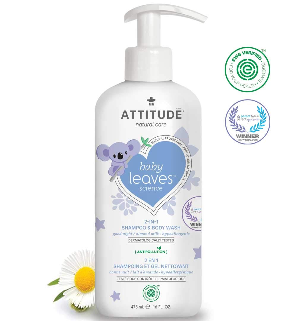ATTITUDE Baby Leaves, Hypoallergenic 2 in 1 Shampoo & Body Wash, Almond Milk, 16 Fluid Ounce