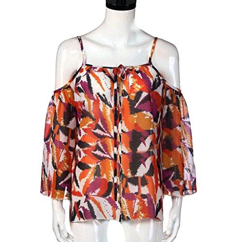 Yogogo Mode Sommer Drucken Blatt Oberteile Krawatte Spitze Beiläufig T-Shirt Strand Bluse Tee für Frauen