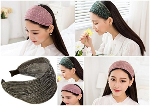 Band Hair Headband Head Ribbon YiyiLai Slip Gold Bandana Women Non Wide Dress qE0OtAz