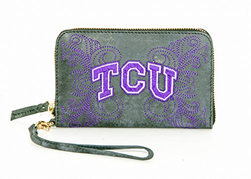 Gameday Boots NCAA TCU Horned Frogs Women's Texas Christiantexas Christian Wristlet, Black, 8 x 5 ()