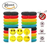 Natural Mosquito Repellent Bracelets 20 Pack Waterproof + 6 Travel Insect Control Patches to Stick on Clothing + Seal Bag | 300 Hours Protection per Bracelet, No Deet for Baby Kids Adults - iWeller.